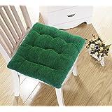 Glamkaart Pure Cotton Green Single Chair Seat Cushion with 4 Tie Backs