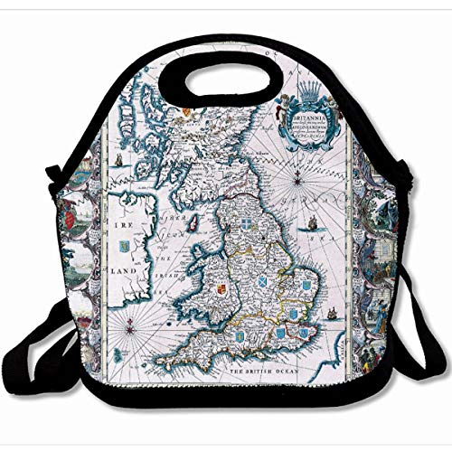 Ahawoso Reusable Insulated Lunch Tote Bag Vintage Hipster Traditional Century Map England 10X11 Zippered Neoprene School Picnic Gourmet Lunchbox