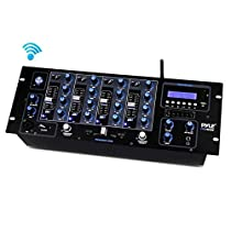 Pyle PYD1962BU Bluetooth 4-Channel DJ MP3 Mixer Controller Console, USB/SD Readers, LCD Display, Rack Mountable