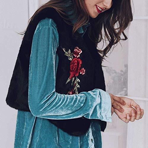 Oversize Fourrure Elégante Broderie Manteau Femme Casual Chic Jacken Hiver Fleur Mode Court Clothing Automne Art Festive De Rétro Gilet Schwarz Vest qUxH0EYw0