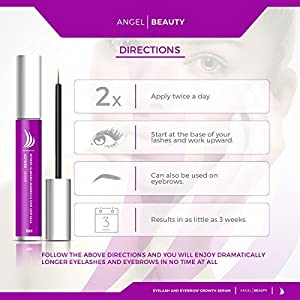 Eyelash Growth Serum, Eyelash Growth, Eyelash Growth Treatment - Eyelash and Eyebrow Growth Serum By Angel Beauty - Unisex, Keratinocytes, Peptides, Ocean Minerals, Longer, Thicker, Healthy, Organic