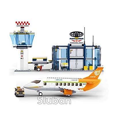 Sluban International Airport - 678 Pieces in Original English Box 100% Compatible - Educational Toy - Building Blocks (M38-B0367) Building Brick Educational Toy: Toys & Games