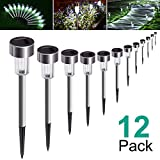 AdorioVix 12 Pack Solar Garden Lights Outdoor, Solar Powered Pathway Lights, Outdoor Landscape Light for Lawn/Patio/Yard/Walkway/Driveway (Stainless Steel, White)