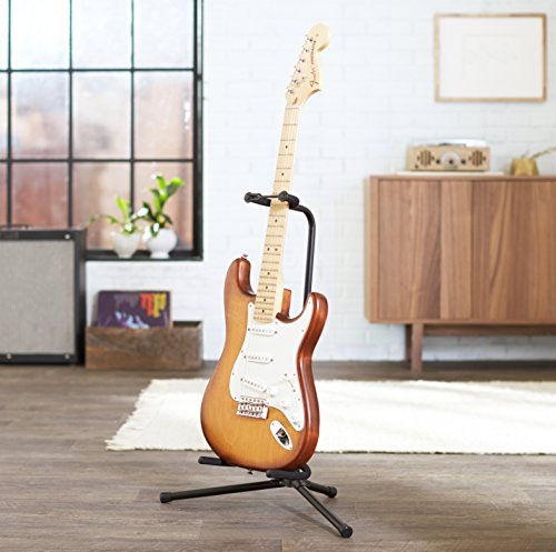 amazonbasics tripod guitar stand with security strap bassist hq. Black Bedroom Furniture Sets. Home Design Ideas