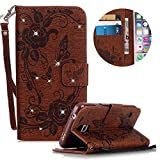 Leather Case for Samsung Galaxy S5 Butterfly Flower Pattern Girls Women Cover, MOIKY Luxury Glitter Sparkle Shiny Bling Rhinestone Magnetic Closure Wallet Pockets Credit Card Holder Flip Stand Cover Case For Samsung Galaxy S5 - Brown