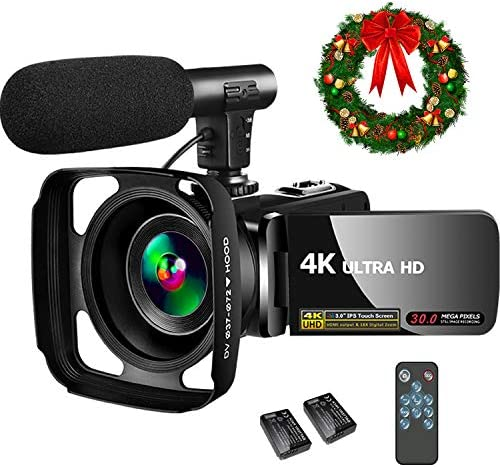 4K Video Camera Camcorder,Video Camcorder 30MP 18X Digital Zoom Touch Screen Webcam Vlogging Camera for YouTube with Microphone, 2 Batteries