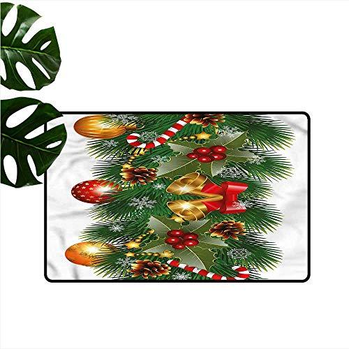 HOMEDD Non Slip Doormat,Christmas Noel Tree Ornaments,Machine-Washable/Non-Slip,35