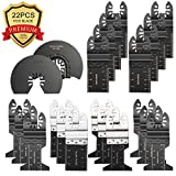 22 Metal Wood Oscillating Multiool Saw Blades Quick Release Pro for Fein Multimaster Porter Cable Black & Decker Bosch Dremel Craftsman Ridgid Ryobi Makita Milwaukee Dewalt and More DIY Tool