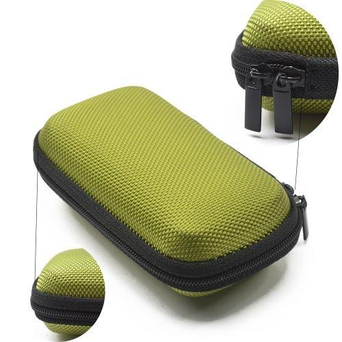 (Case Star ® Black Color Rectangle Shaped Hard Earphone Headset EVA Case for MP3/MP4 Bluetooth Earphone Earbuds with Mesh Pocket, Zipper Enclosure, and Durable Exterior+ Case Star Velvet Bag (Rectangle Earphone Case - Green))