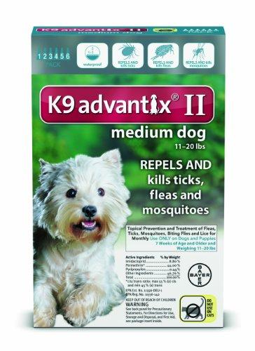 K9 Advantix II Flea, Tick and Mosquito prevention for Medium Dogs 11 - 20 lbs,  6 doses by Advantix