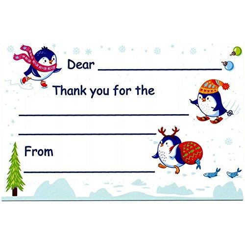 Christmas White Postcard - Funny Penguins - Kid's Christmas Thank You Postcards (20)