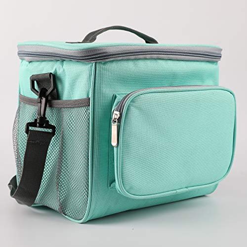 - Insulated Lunch Bag Lining Lunch Bag Leakproof Lunch Tote Front Zipper Pocket and Dual Large Mesh Side Pockets Double Deck Heat-resistant Cooler with Adjustable Shoulder Handbag for Women