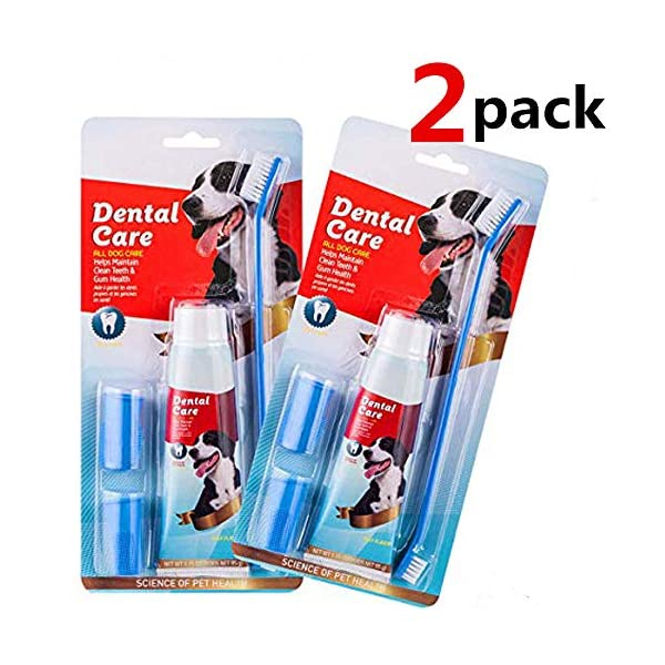 CooZero Dog Dental Care Kit, 2 Pack Dog Toothpaste and Dog Toothbrush Set Pet Soft Toothbrush Dog Finger Toothbrushes Pet Toothbrush for Cats and Dogs - Small to Large Dogs 2