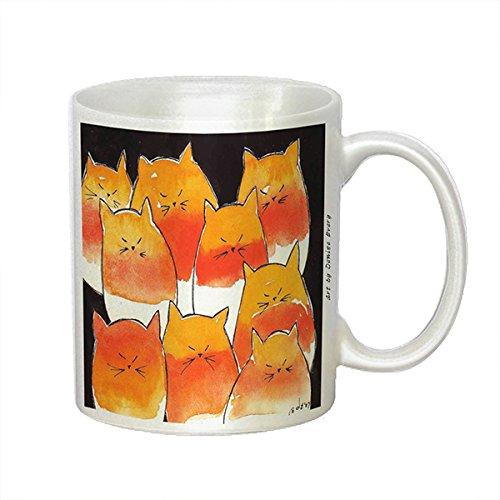 Nine Candy Corn Kitties Abstract Cat Art by Denise Every - White Coffee Mug -