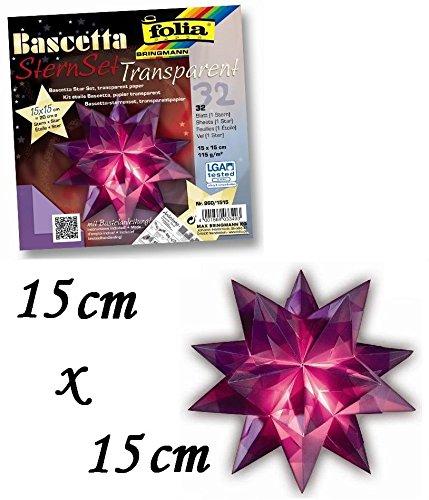 Folia Bringmann Bascetta Stern Set transparent 15 x 15 cm = 20 cm Ø, violett Max Bringmann KG
