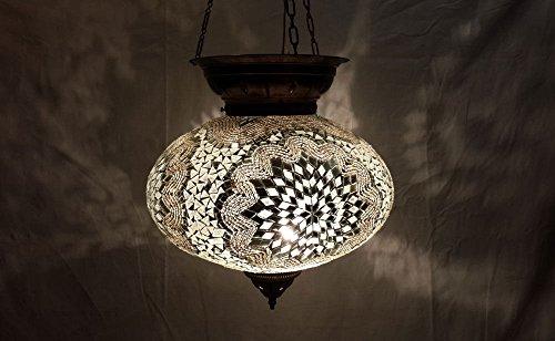 XXL white moroccan lantern mosaic hanging lamp glass chandelier light turkish candle holder m 43