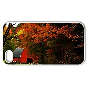 Barn in Autumn Landscape - Case Cover for iPhone 4 and 4s (Watercolor style, White)