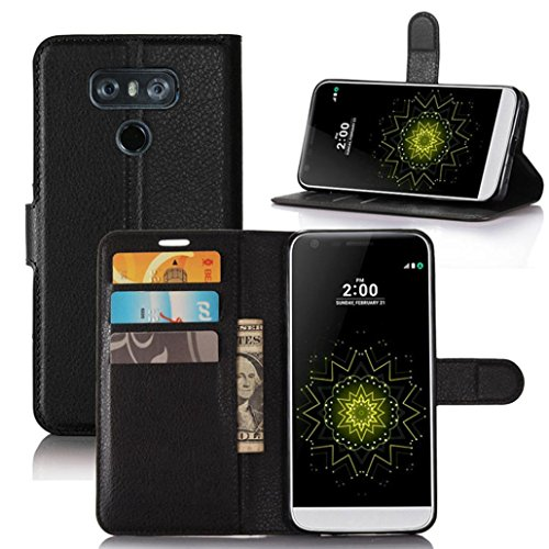 Price comparison product image LG G6 5.7inch Case,VoberryFlip Magnetic Card Wallet Leather Case Stand Cover For LG G6 5.7inch (Black)