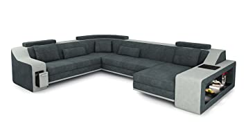 Wohnlandschaft Xxl Stoff Sofa Antrazit Platin Grau U Form Couch