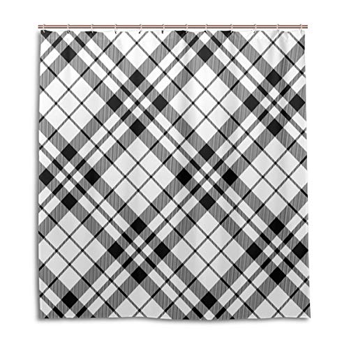 (Amanda Billy Black and White Diagonal Checkered Natural Home Shower Curtain, Beaded Ring, Shower Curtain 72 x 72 Inches, Modern Decorative Waterproof Bathroom Curtains )