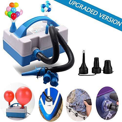 Balloon Pump, Balloon Inflator, Electric Balloon Blower Inflator with Multipurpose Hose Extension, Portable Balloons Inflator with Nozzles for Inflatables Couch, Pool Floats, Inflatable Toy, Compression Bag [2019 Updated]