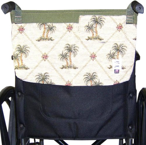 Handi Pockets 3c5ip Storage Accessory Wheelchair, Tapestry, Island Palm with Flap