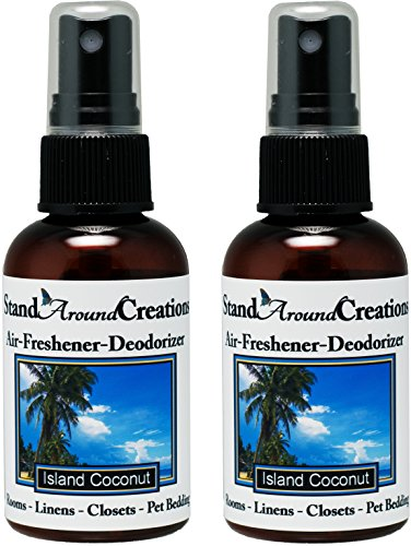 Set of 2 - Concentrated Spray For Room / Linen / Room Deodorizer / Air Freshener - 2 fl oz - Scent - Island Coconut by Stand Around Creations