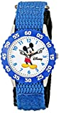 Disney Kids' W000228 ''Mickey Mouse Time Teacher'' Stainless Steel Watch with Blue Nylon Band
