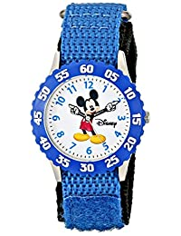 Disney, Reloj pulsera para aprender la hora para niños de Mickey Mouse, de acero inoxidable y correa de nailon azul, W000228