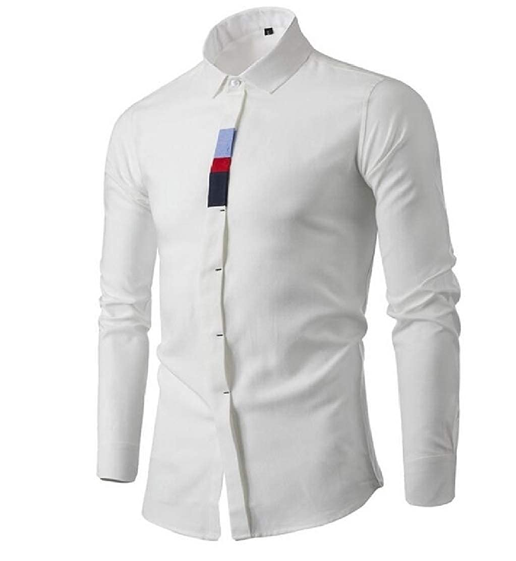 Domple Mens Cotton Casual Button Front Long Sleeve Slim Fit Business Shirts