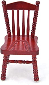 Tnfeeon Doll House Furniture Wooden Red Chair, Exquisite Miniature Arm Chair Photography Props 1:12 Dollhouse Decoration