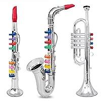 Conjunto de 3 Música 1. Clarinete 2. Saxofón 3. Trompeta, Combo con más de 10 canciones de enseñanza con código de color Made in Italy.