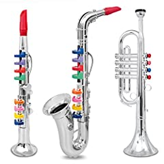 Set of 3 Clarinet, Saxophone and Trumpet Introduce music with these beautiful Instruments. Light Weight. Silver with fun colors. Comes with notes for some famous children songs. Kids can follow the notes easily with the help of the colored ke...
