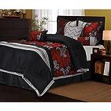 7 Piece Multi Damask Leaf Pattern Comforter Cal King Set, Elegant High-Class Motif Scrollwork Design, Stylish Luxurious Stripe Theme, Soft & Cozy, Modern Bedrooms, Vibrant Bold Colors Red Grey Black