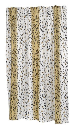 Carnation Home Fashions 100-Percent Polyester Fabric 70 by 84-Inch Shower Curtain, X-Long, Hailey, Multi Color Animal Prints