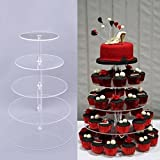 Fashine 5 Tier Round Clear Acrylic Cupcake Stand Crystal Cake Dessert Tower for Wedding Birthday or Party Food Display (5 Tiers)