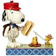 """Peanuts by Jim Shore Snoopy and Woodstock Campfire Stone Resin Figurine, 5.25"""""""