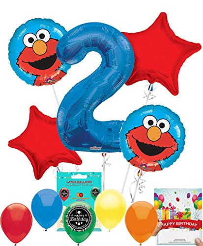 Elmo Party Supplies Sesame Street Balloon Decoration Bundle with Birthday Card for 2nd Birthday -