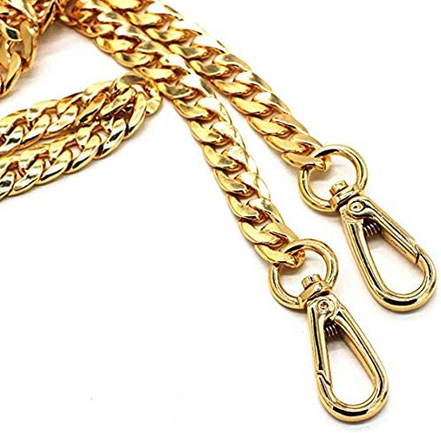 with 2 Metal Buckles Handbags Accessories Replacement Chains for Wallet Purse Straps Shoulder Straps Searea 55 Iron Flat Chain Strap Gold