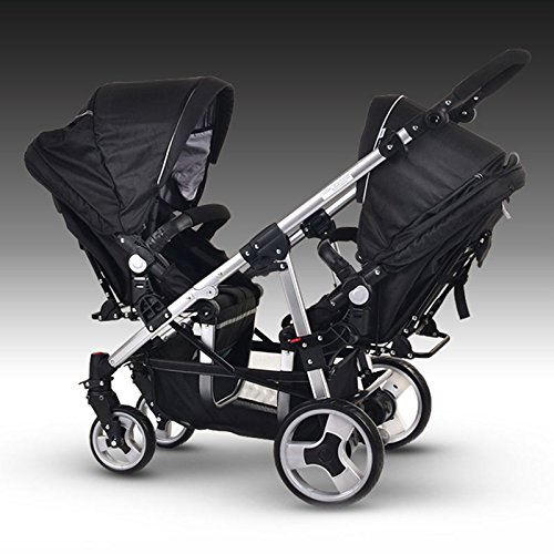 double-twin-carriage-pet-stroller-carrier-4-wheel-black-easy-folding-black-deluxe-fold-travel-dog-ca