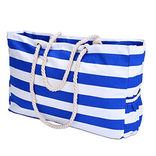KUAK Extra Large Beach Bag, with 100% Waterproof Phone Case, Key Holder, Bottle Opener, Two Outside Pockets, Top Zipper Closure, Canvas Blue Stripe Cotton Rope Handles Shoulder Beach Tote Bags (Mom Beach Bag)