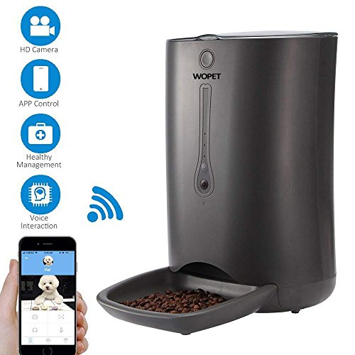 WOpet SmartFeeder,Automatic Pet Dog Cat Feeder,6-Meal Auto Pet feeder Timer Programmable,HD Camera Voice Video Recording,Wi-Fi Enabled App iPhone Android (Grey)