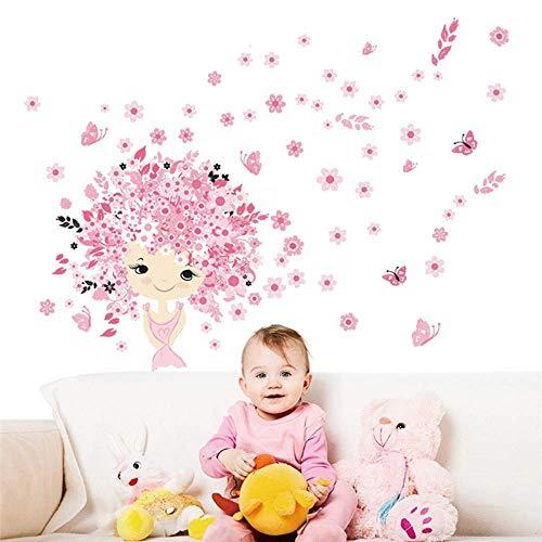3D Wall Sticker Art Sticker Applique Mural Fairy Girl Flower Pansy Children Room Wall Sticker Art Sticker Home Decoration Children Room Wall Decoration