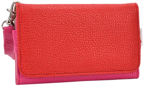 Kroo Clutch Wristlet Wallet for 4-Inch Smartphones - Retail Packaging - Magenta and Red