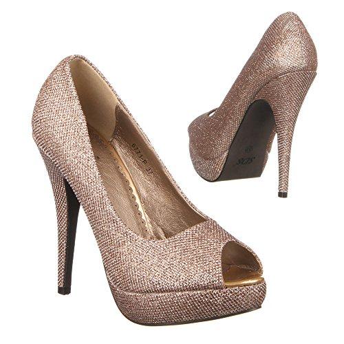 Ital-Design Damen Schuhe, 6771-P, Pumps Gold