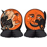 Beistle Vintage Halloween Tissue Centerpieces - Cat & Moon - Witch & Moon - 9 3/4""