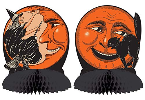 Beistle Vintage Halloween Tissue Centerpieces - Cat & Moon - Witch & Moon - 9 3/4
