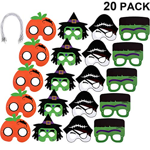 Paper Halloween Costumes (Gejoy 20 Pieces Halloween Mask Craft Kit, Include Pirates, Witch and Pumpkin Paper Masks for Halloween Costume Cosplay)