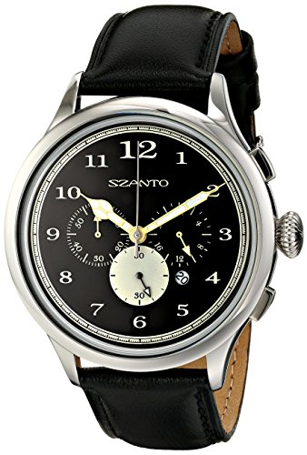 Szanto Unisex SZ 2401 Szanto 2400 Series Analog Display Japanese Quartz Black Watch