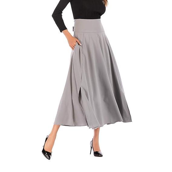Elegante Faldas Largos Mujer Vintage Falda Maxi Volantes con ...